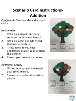 Addition and Subtraction Problem Scenario Cards
