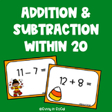 Addition and Subtraction Scoot Fall Themed