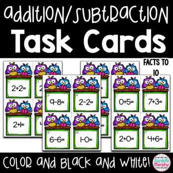 Task Cards--Addition and Subtraction to 10 Scoot! Game