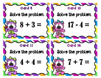 Addition and Subtraction Scoot - Spring Bears