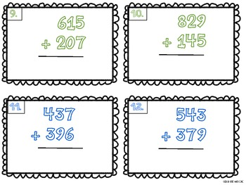 3 Digit Addition and Subtraction Scoot Task Cards