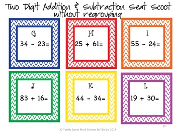 Addition and Subtraction Seat Scoot Bundle!