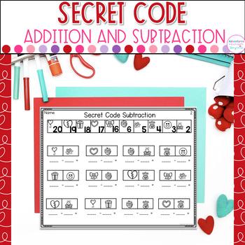 Addition and Subtraction Secret Code- Valentine Edition