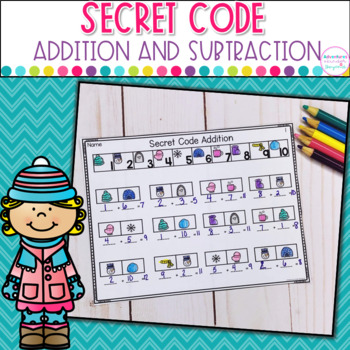 Addition and Subtraction Secret Code- Winter Edition