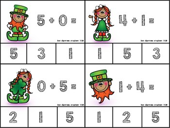 Addition and Subtraction Shamrock Math Clip Cards