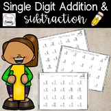 Addition and Subtraction Single Digit- 1 year packet