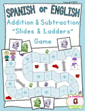 "Addition and Subtraction: Winter ""Slides and Ladders"" Game (Spanish and English)"