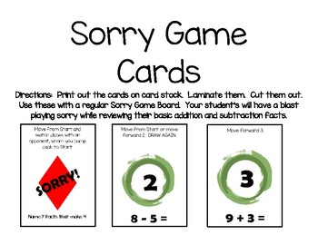 Addition And Subtraction Sorry Game Cards By Jennifer Johnson Tpt