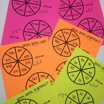 Addition and Subtraction Spinner Game- 2 Digit, 3 Digit, and 4 Digit