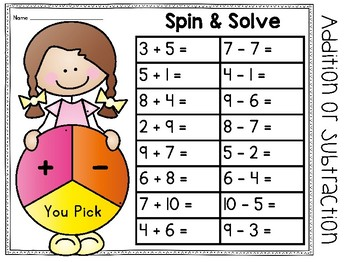 Addition and Subtraction Spinner Games