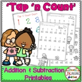 """Addition and Subtraction Spring Worksheets with """"Tap 'n Count"""" points"""