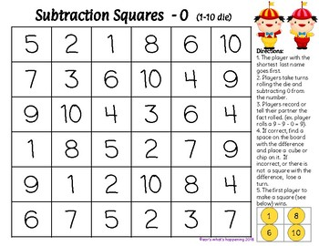 Addition and Subtraction Squares +, - 0 - Alice in Wonderland