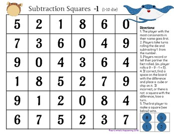 Addition and Subtraction Squares +, - 1 - Finding Nemo