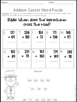 Addition and Subtraction St. Patrick's Day Math Riddles