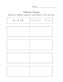 Addition and Subtraction Stamp Worksheet
