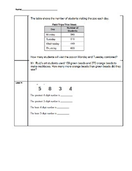 Addition and Subtraction Standards Based Assessment