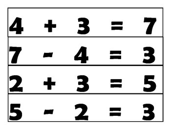 Addition and Subtraction Sticky Notes