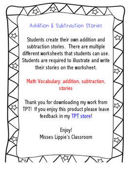 Addition and Subtraction Stories, Kindergarten
