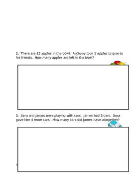 Addition and Subtraction Story Problems Assessment