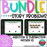 Addition and Subtraction Story Problems Boom Cards   Dista