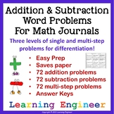 Addition Word Problems or Subtraction Word Problems for Math Problem Solving