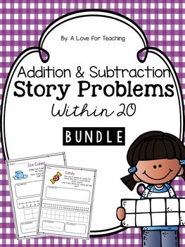 Addition and Subtraction Story Problems within 20 BUNDLE {Editable}