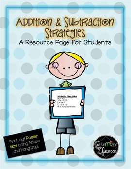 Addition and Subtraction Strategies Student Resource Poster