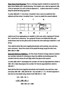 Addition and Subtraction Strategies Grade 2.NBT.7 Parent and Student Handout