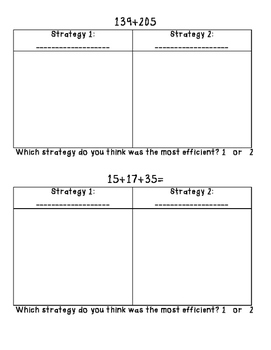 Addition and Subtraction Strategies: Study Guide and Practice Pages-Common Core