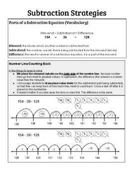 Addition and Subtraction Strategy Explanations for Parents
