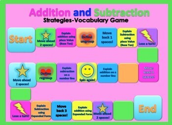 Addition and Subtraction Strategy-Vocabulary Game