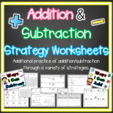 Addition and Subtraction Strategy Worksheets  More than 24