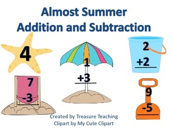 Addition and Subtraction Summer Themed Small Group or Whole Group Activity