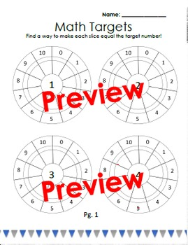 Addition and Subtraction Target Worksheets