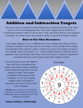 Addition and Subtraction Targets