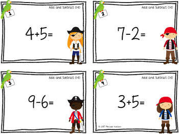 Addition and Subtraction Task Cards 0-10