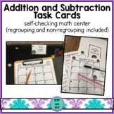 Addition and Subtraction Task Cards (3 and 4 digits, regro