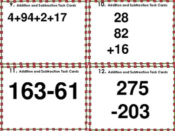 Addition and Subtraction Task Cards (32 Cards)
