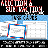 Addition and Subtraction within 1,000 Task Cards