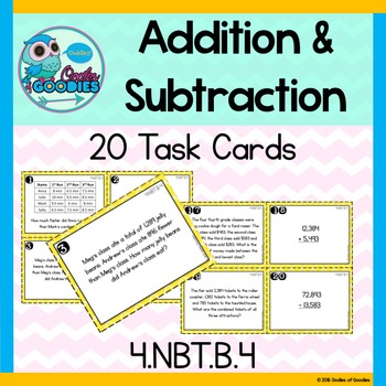 Addition and Subtraction Task Cards - (4.NBT.B.4)