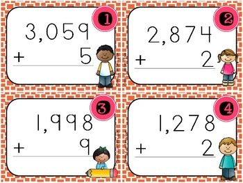 Addition and Subtraction Task Cards (4 digit by 1 digit)
