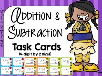 Addition and Subtraction Task Cards (4 digit by 2 digit)