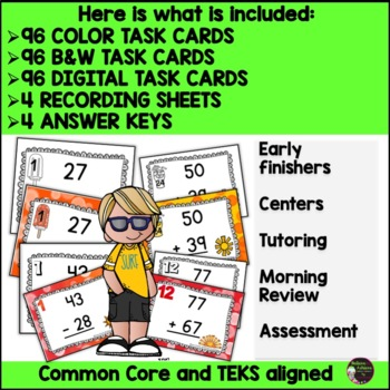 Two-Digit Addition and Subtraction Task Cards Bundle (Summer theme)
