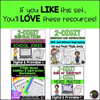 2-Digit Addition and Subtraction Task Cards Bundle (Summer theme)