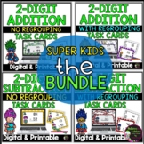 2 Digit Addition and Subtraction Task Cards Bundle (Superhero theme)