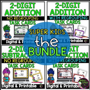 2-Digit Addition and Subtraction Task Cards Bundle (Superhero theme)