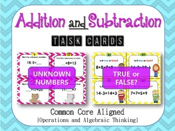 First Grade Addition and Subtraction Task Cards- Common Core Aligned