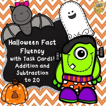 Halloween Addition and Subtraction Task Cards - Facts to 20!  Halloween Themed!