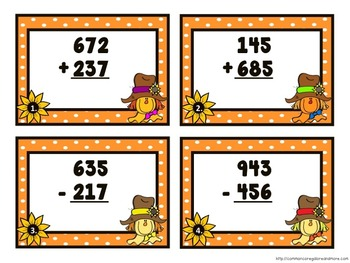 Addition and Subtraction Task Cards - Fall