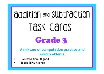 Addition and Subtraction Task Cards- Grade 3